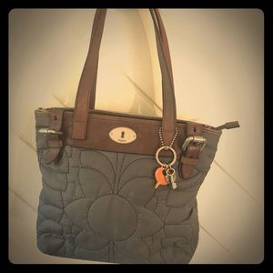 Fossil Quilted Fabric & Leather Bag